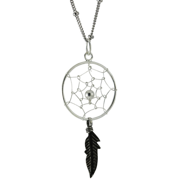 Sterling Silver DreamCatcher Pendant Necklace 24 - 30