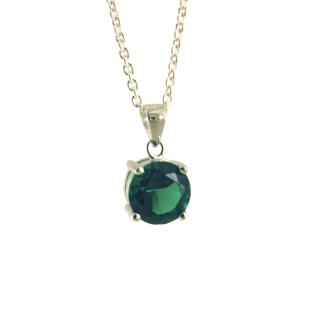 Sterling Silver Green Stone Pendant Necklace