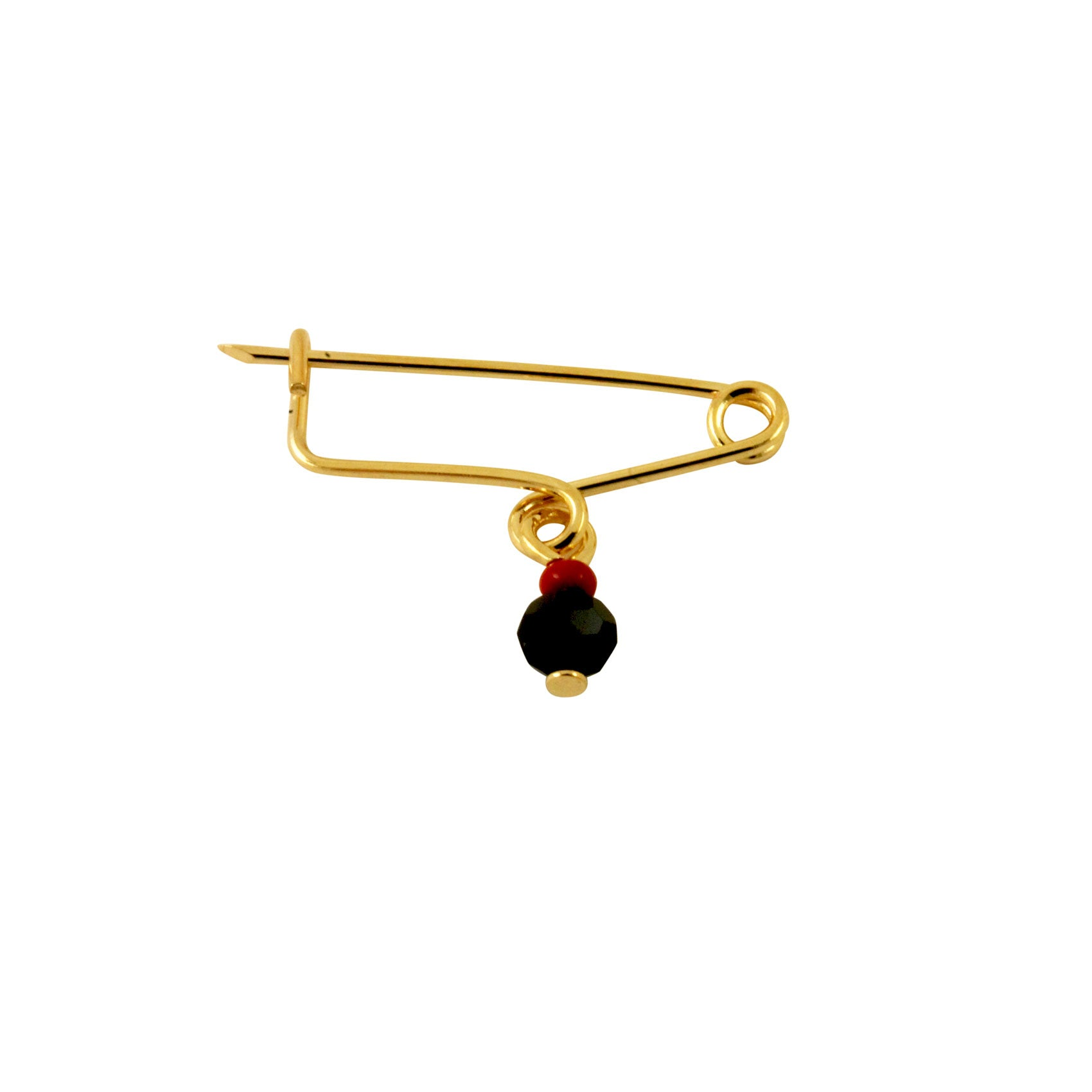 Azabache Style Black & Red Coral Safety Pin Brooch
