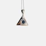 "Sterling Silver Blue ""Eye of Providence"" Pendant Necklace"