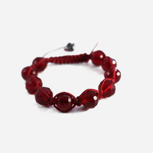 Burgundy Red Crystal Beaded Friendship Macrame Bracelet