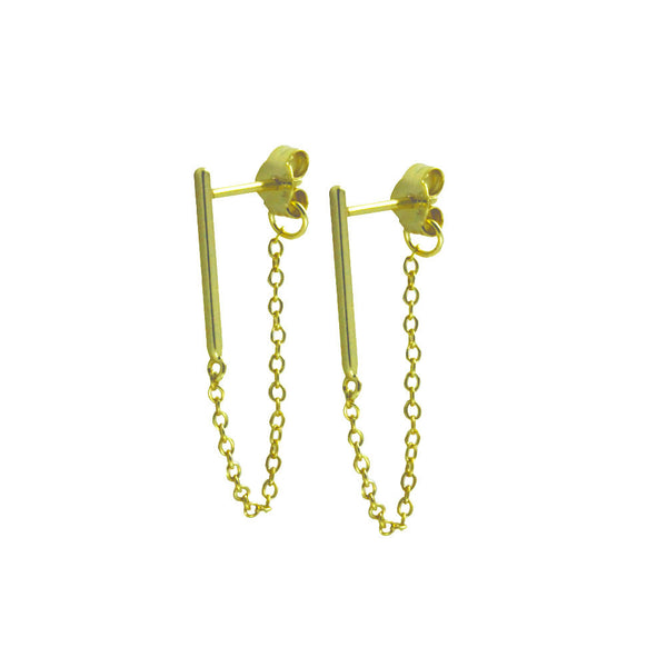 Gold-Dipped Mini Bar Studs with Chain Earrings