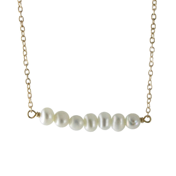 Gold-Dipped Pearl Bar Necklace