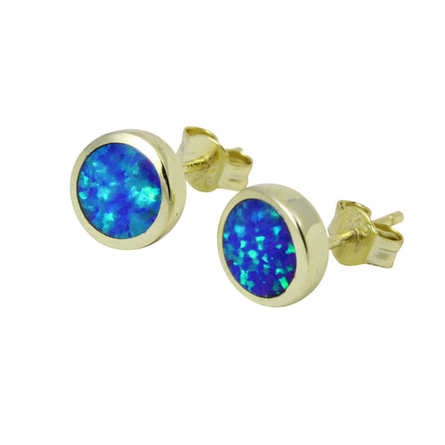 Gold-Dipped Blue Opal Stud Earrings