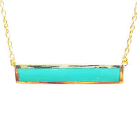 "Gold-Dipped ""Turkoise"" Bar Pendant Necklace 17 inch"