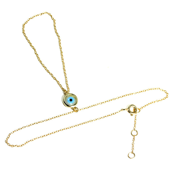 Gold-Dipped Hand Chain Bracelet with Blue Evil Eye