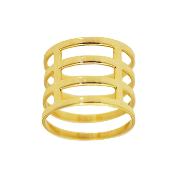 """Cardinal"" Gold-Dipped Cage Ring"