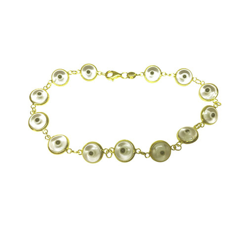 Gold-Dipped Clear Evil Eye Bracelet