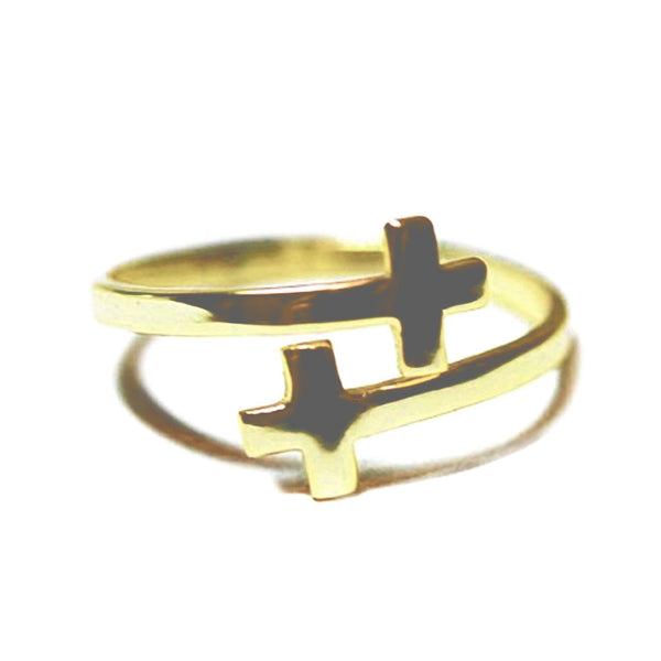 Gold-Dipped Double Cross Ring