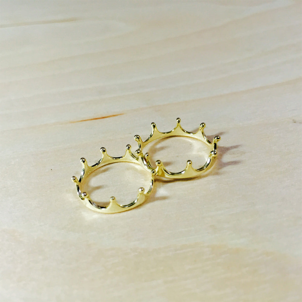 "Gold-Dipped ""Princess"" Crown Ring"