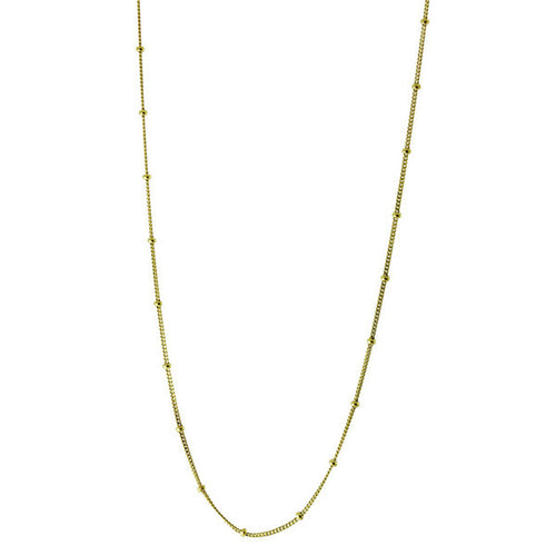 Gold-Dipped Curb Beaded Chain Necklace 16 inch + 2 inch extender