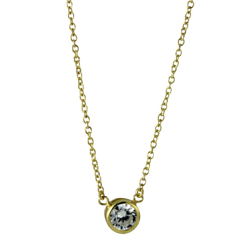 Gold-Dipped CZ Solitaire Necklace
