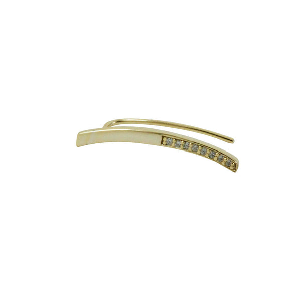 Gold-Dipped Bar Ear Pin Cuff Earring with CZ Accent