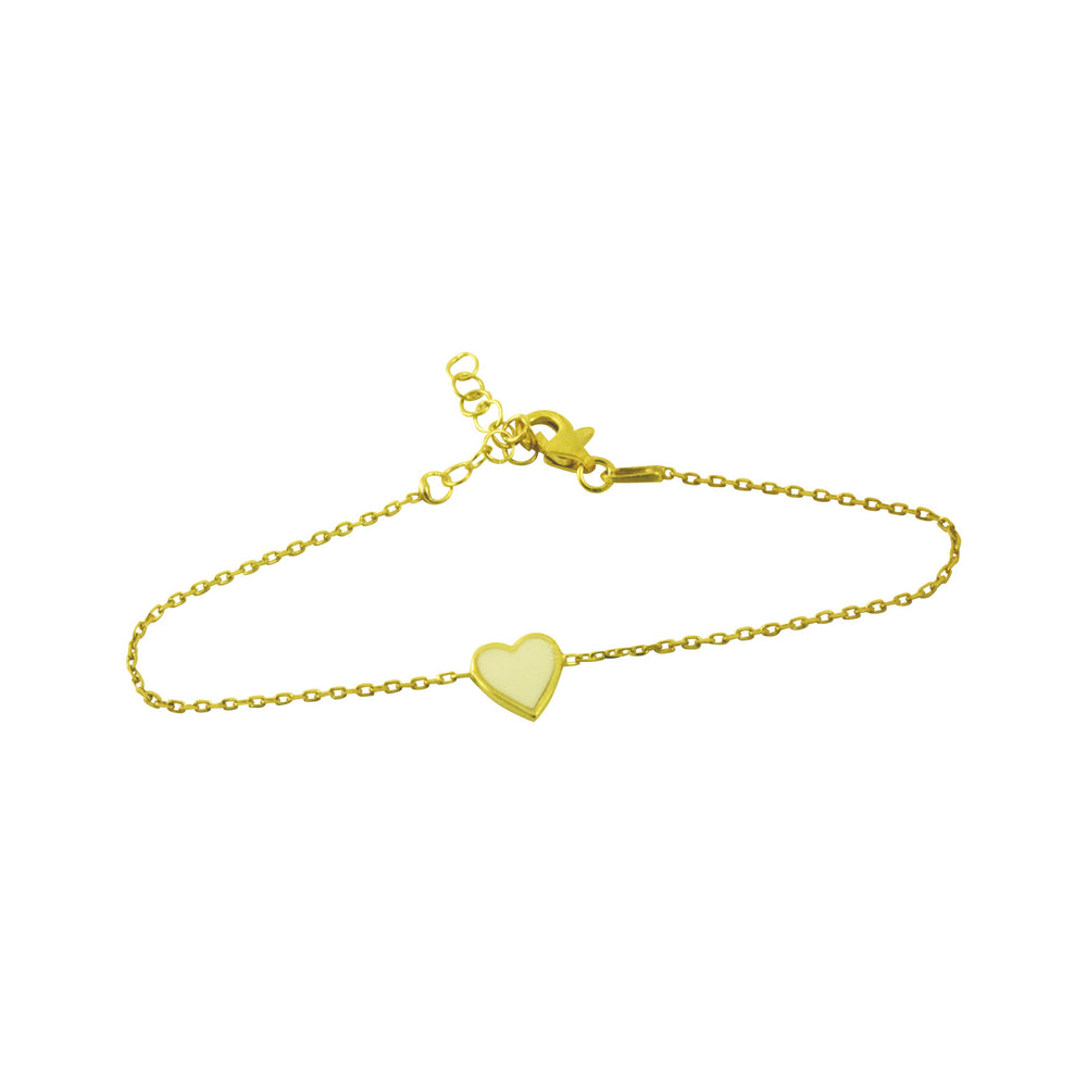 Gold-Dipped White Heart Enamel Bracelet