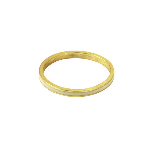 Gold-Dipped White Enamel Ring