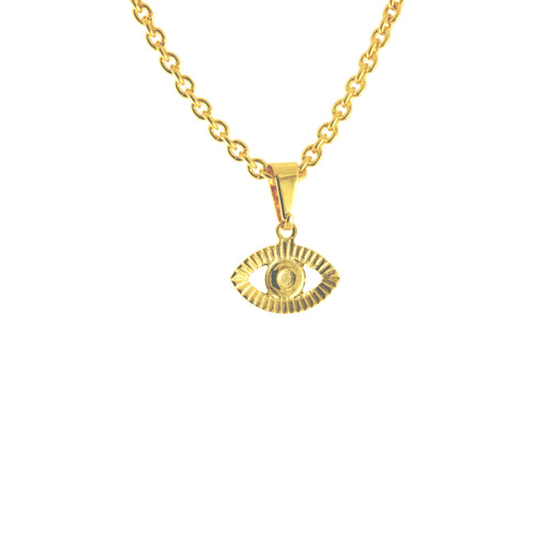 Gold Evil Eye Disc Pendant Necklace