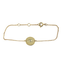 """Eclipse"" Gold-Dipped Evil Eye CZ Bracelet 7 inch"