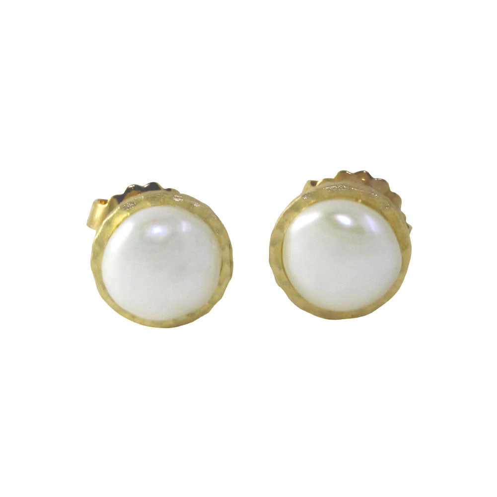 """Biwha"" Gold-Dipped Freshwater Pearl Coin Stud Earrings"