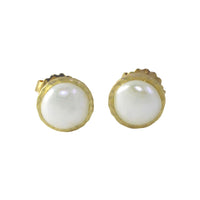 """Biwha"" Sterling Silver Freshwater Pearl Coin Stud Earrings"