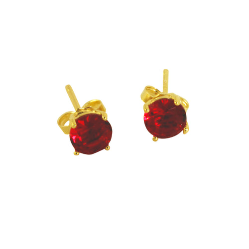 Gold-Dipped Garnet Stud Earrings