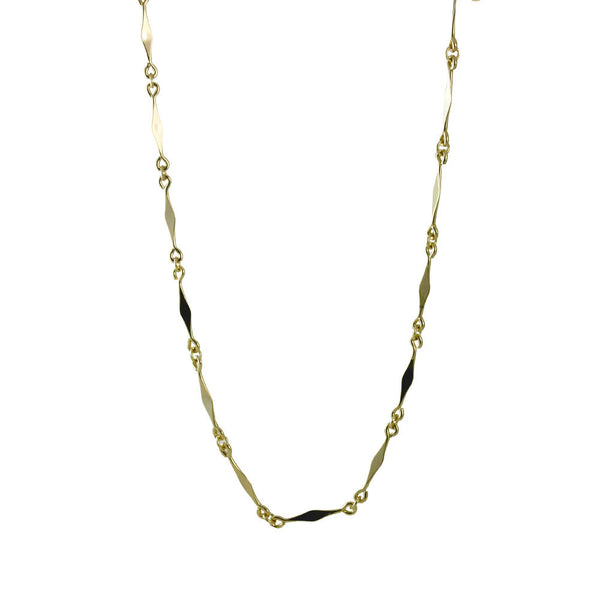 """Romy"" Gold-Dipped Geometric Bar Link Chain Necklace"