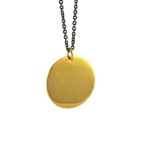 Gold-Dipped Large Round Disc Medallion Necklace // Mixed Metals