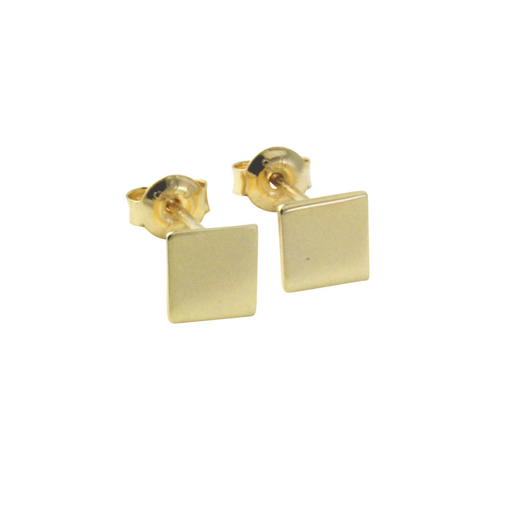 """Tic Tac"" Gold-Dipped Mini Square Stud Earrings"