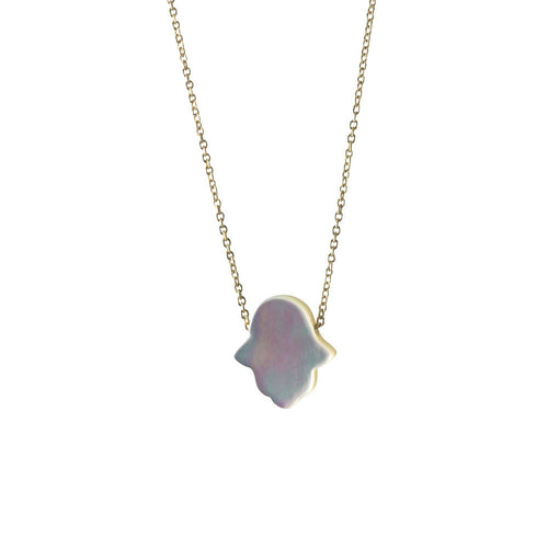 Gold-Dipped Pearly Hamsa Necklace