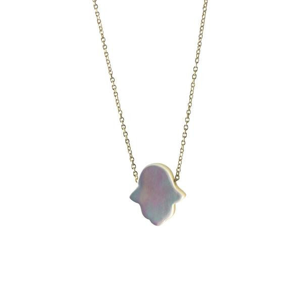 Sterling Silver Pearly Hamsa Necklace