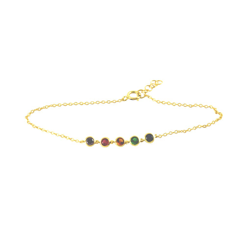 Gold-Dipped MultiColor Rainbow Stone Bracelet