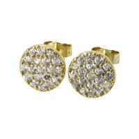 Round Disc Pave CZ Cluster Stud Earrings