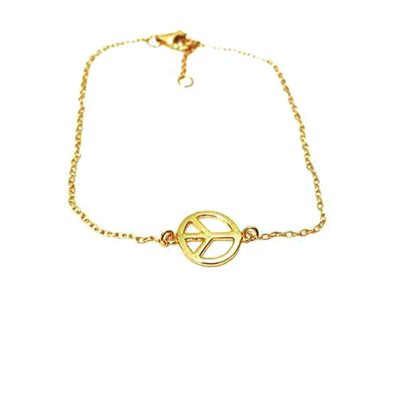 Gold-Dipped Peace Sign Bracelet