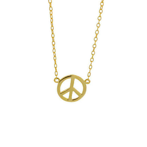 Gold-Dipped Mini Peace Charm Necklace 16 inch