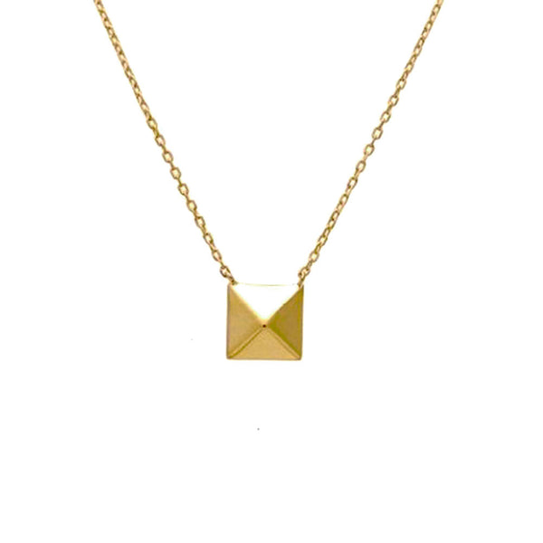 Gold-Dipped Single Pyramid Stud Necklace 17 inch