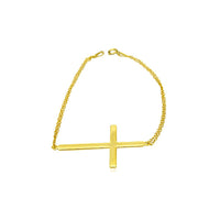 Gold-Dipped Sideways Cross Bracelet 7 inch Large Cross