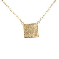 Sterling Silver Plain Square Pendant Necklace