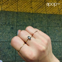 Gold-Dipped Marquise Black Stone Ring