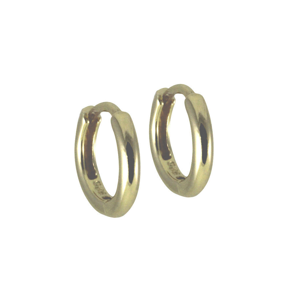 "Gold-Dipped ""Huggie"" Round Mini Hoop Earrings Thin"