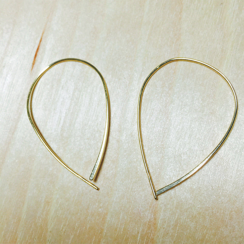 "Sterling Silver ""TearDrop"" Hoop Threader Earrings"