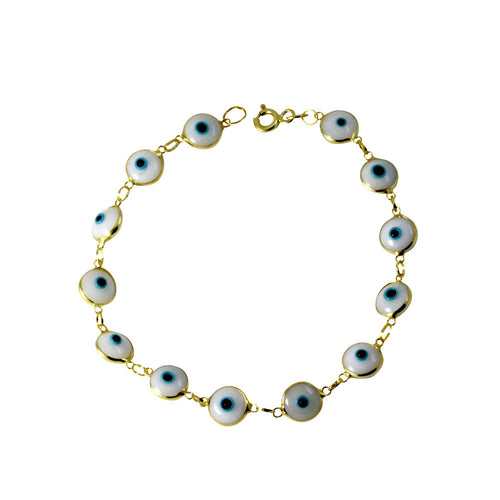 Gold-Dipped Blue White Evil Eye Bracelet