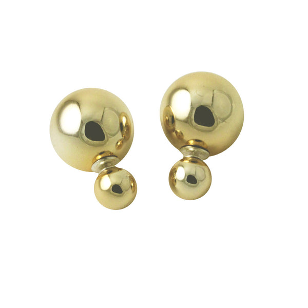 Golden Double-Sided Bead Stud Earrings with Sterling Silver Post