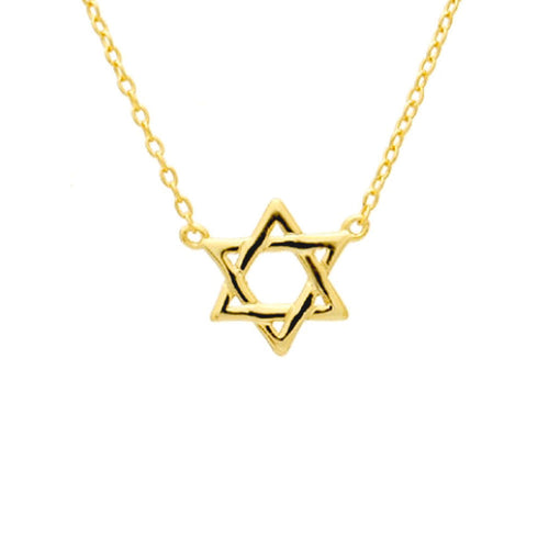 Gold-Dipped Star of David Necklace 16 inch