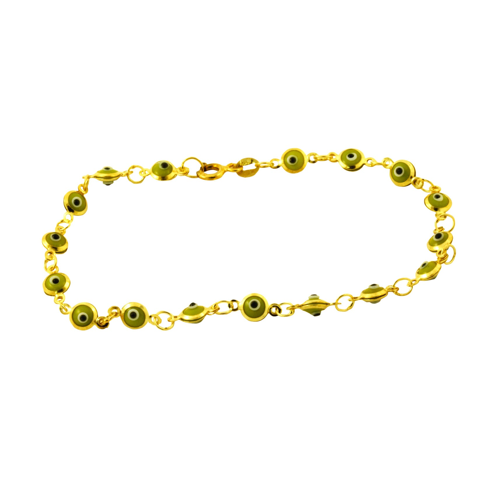 Gold-Dipped Green Mini Evil Eye Bracelet