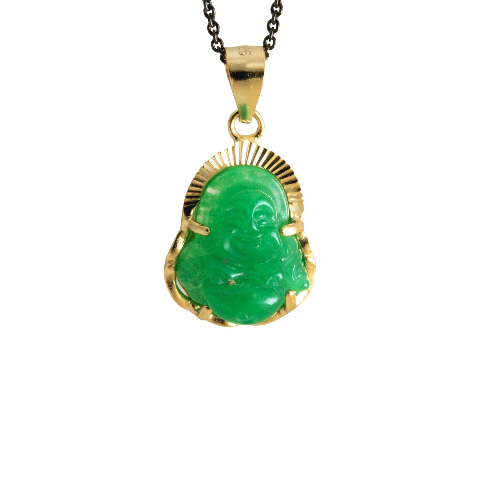 Green Stone Budda Pendant Necklace