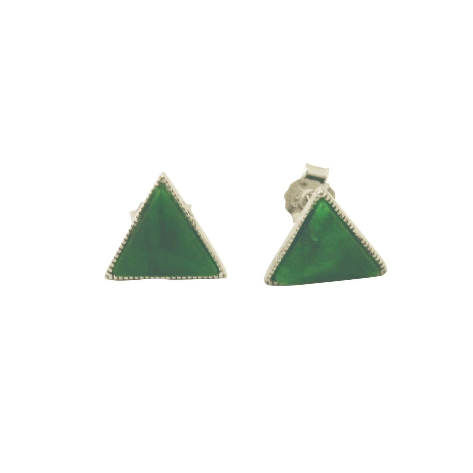 Green Stone Triangle Pyramid Stud Earrings