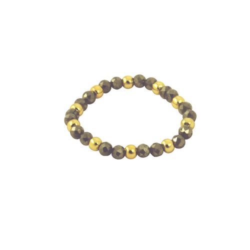 Grey Crystal & Gold Bead Stretch Ring