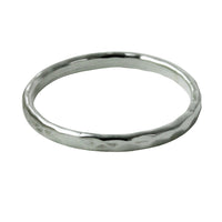 """Disko"" Sterling Silver Hammered-Style Thin Band Ring"