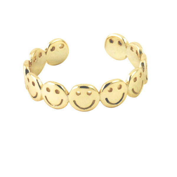 Sterling Happy Face Band Ring