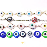 Sterling Silver Color Filigree Blue Evil Eye Bracelet