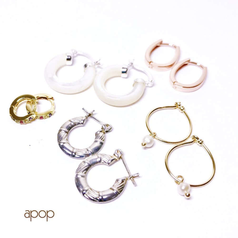 Rosy Oval Hoop Earrings
